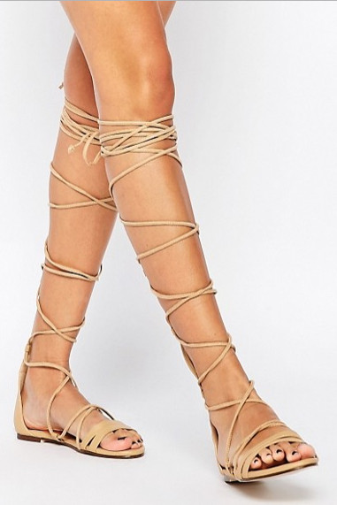 Daisy Street Lace Up Gladiator Flat Sandals