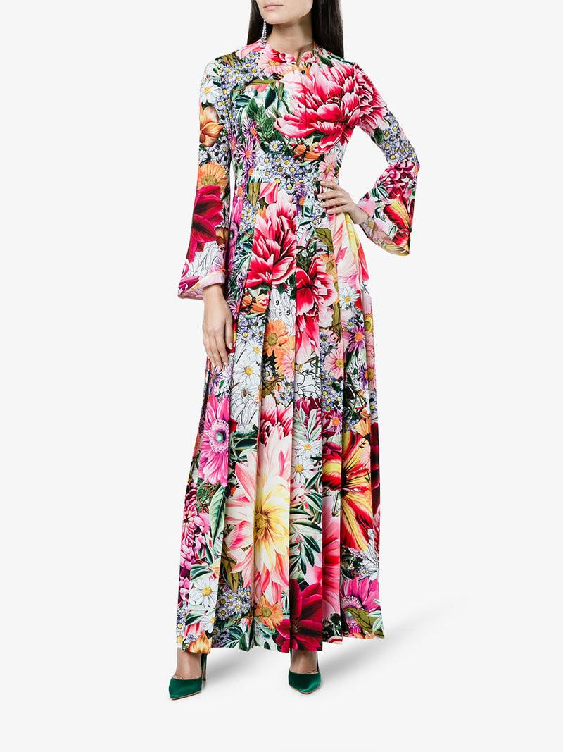 Mary Katrantzou Desmine Paint By Numbers Print Long Dress