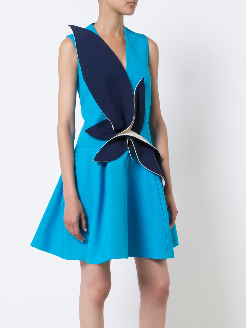 Delpozo Blue Cotton Contrast Patch Flared dress