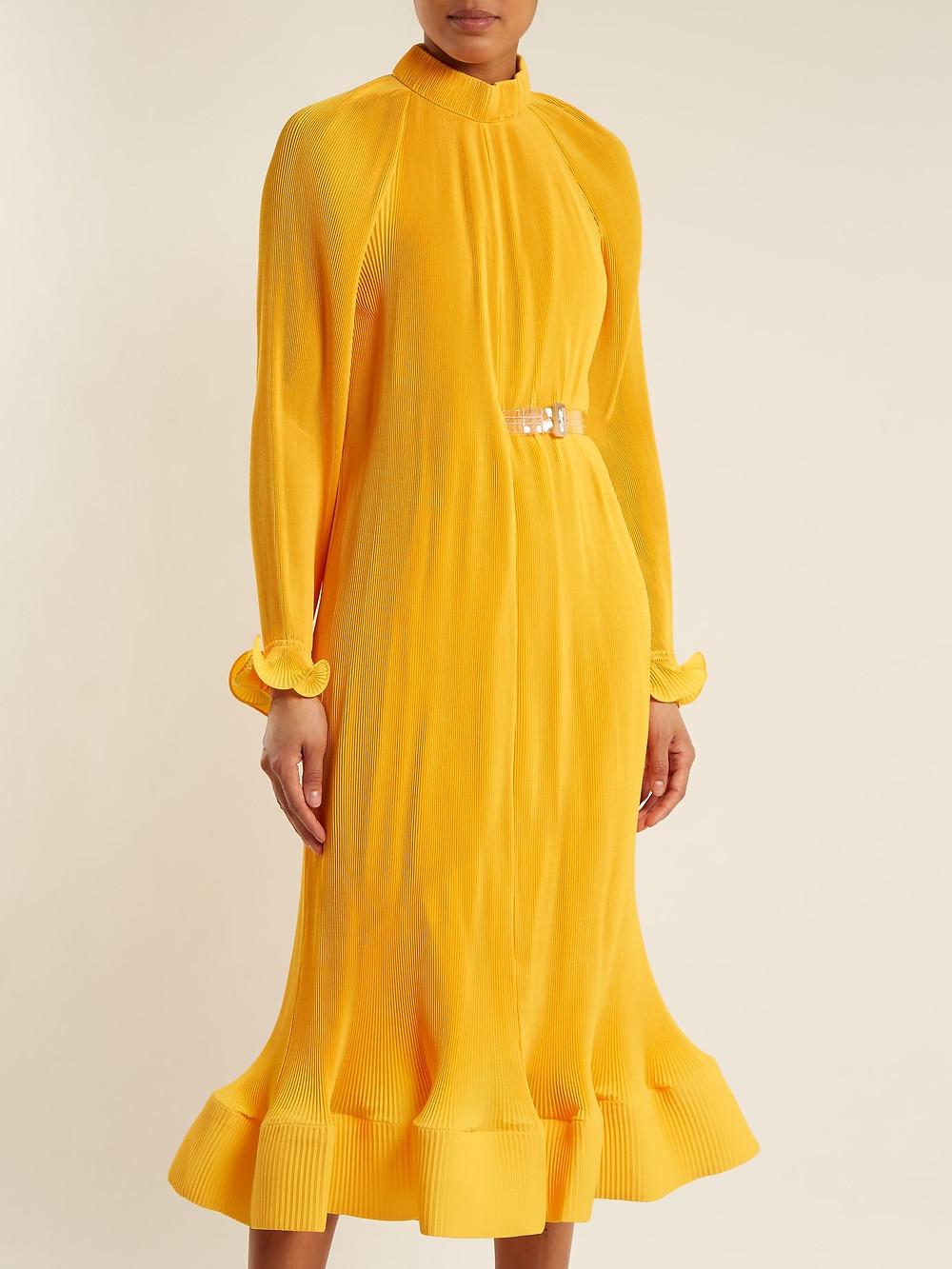 Tibi Ruffle-trimmed high-neck pleated dress