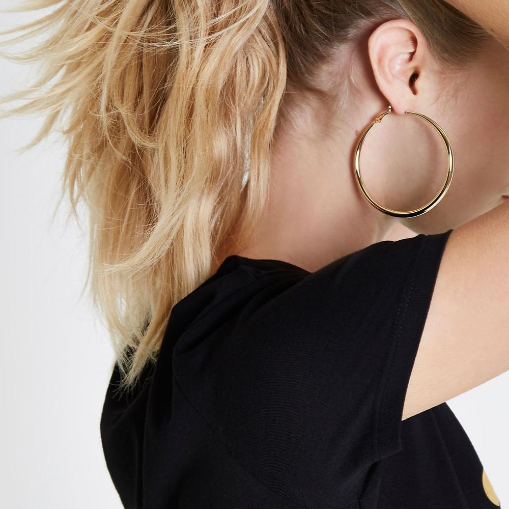 River Island Gold tone hoop earrings