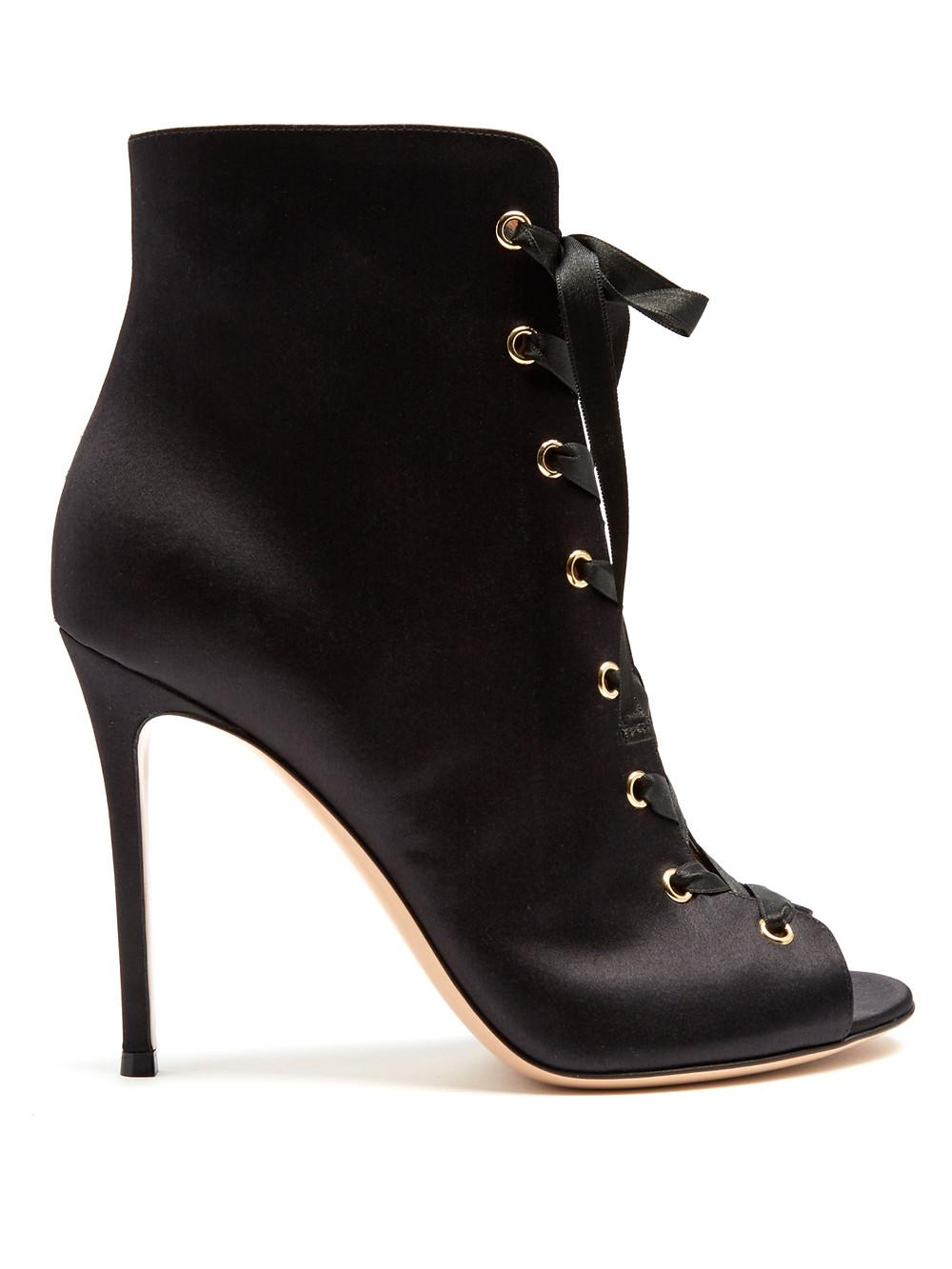 gianvito rossi black satin booties