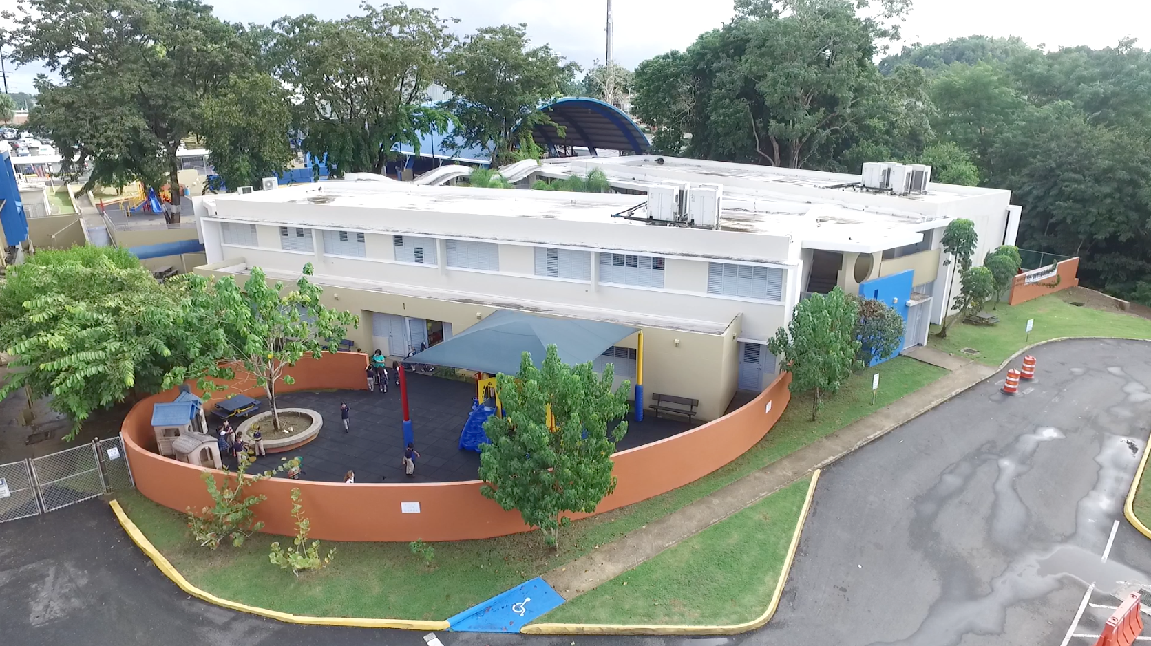 Aerial view primary school