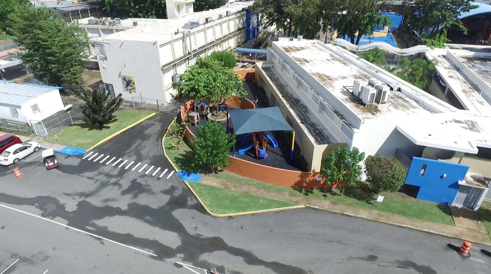 Aerial rear of school