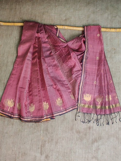 Mulberry silk by tussar silk base extra weft sari