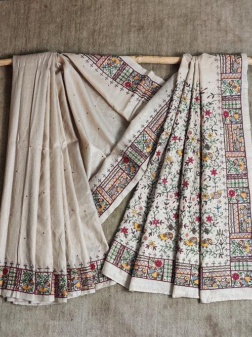 Madhubani inspired Aari work tussar silk sari