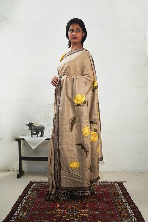 Tussar Silk Applique Sari