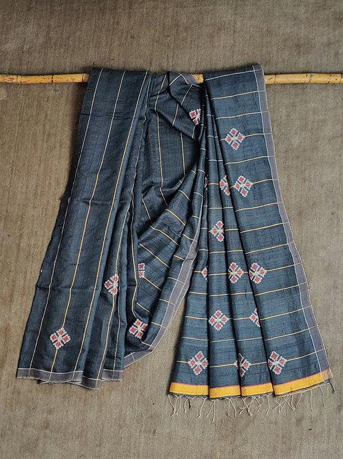 Mulberry silk by Eri silk base extra weft sari