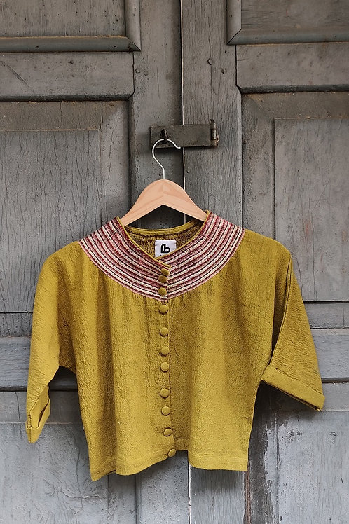 Hand woven cotton Sujani Crop top