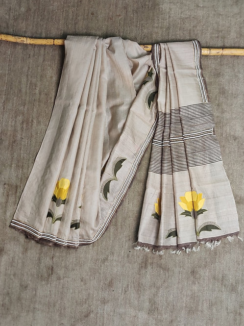 Tussar Silk Applique Sari