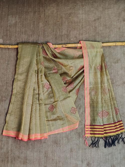 Mulberry silk by tussar silk base extra weft (52 buti) sari