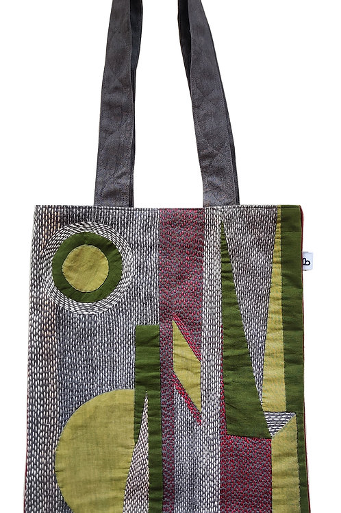 Unisex cotton tote bag with Applique and Sujani work