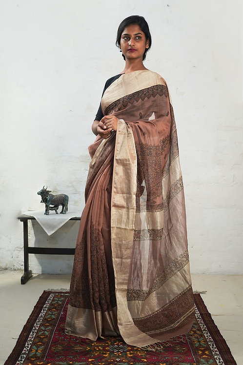 Cotton Silk Madhubani Handpainted sari