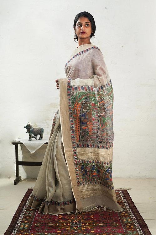 Tussar Silk Linen Madhubani Handpainted Sari