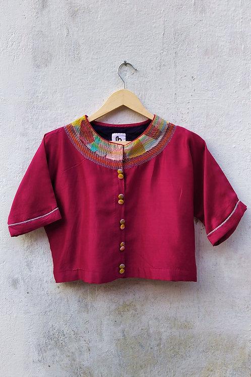 Cotton-silk Sujani Crop top