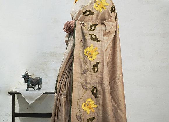 Tussar Applique sari
