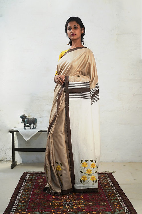 Tussar Silk & cotton- silk Applique Sari
