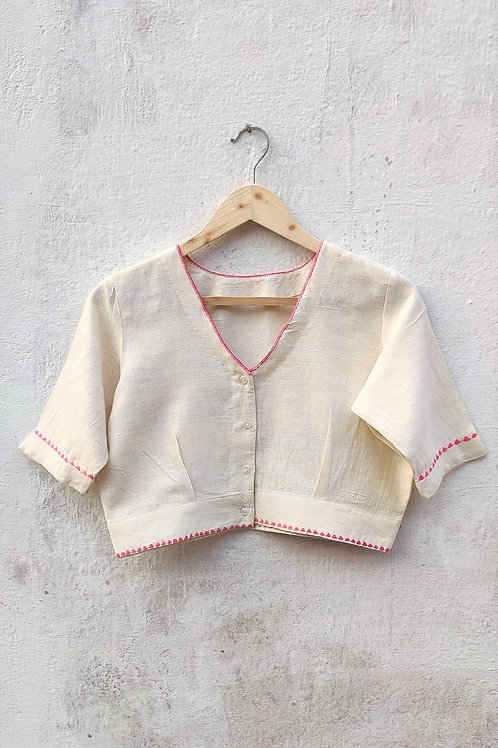 Hand woven cotton embroidered blouse