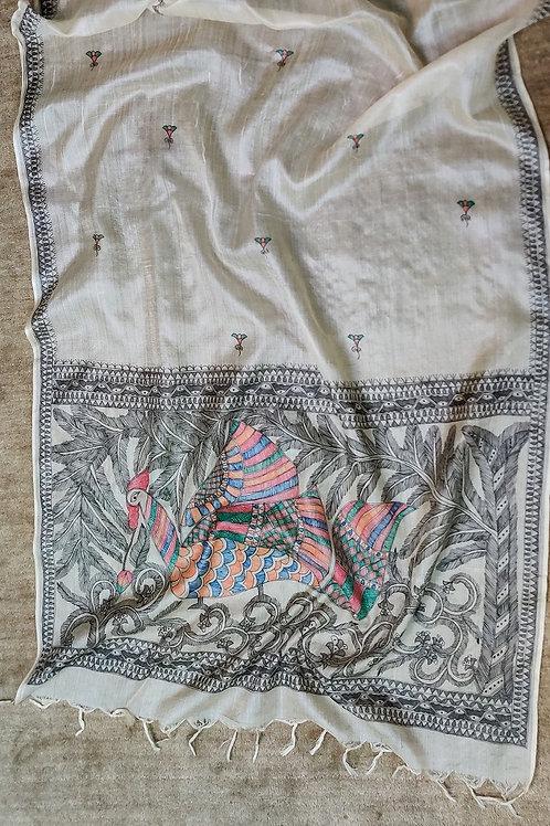 Munga Silk Madhubani hand painted dupatta
