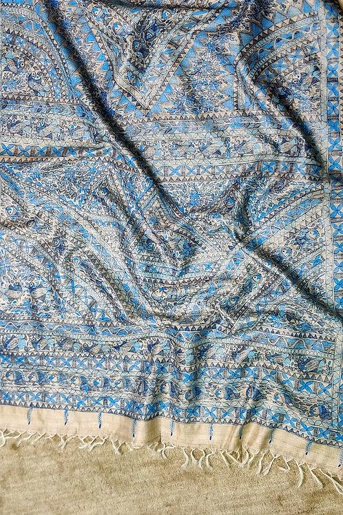 Tussar Silk Madhubani hand painted dupatta