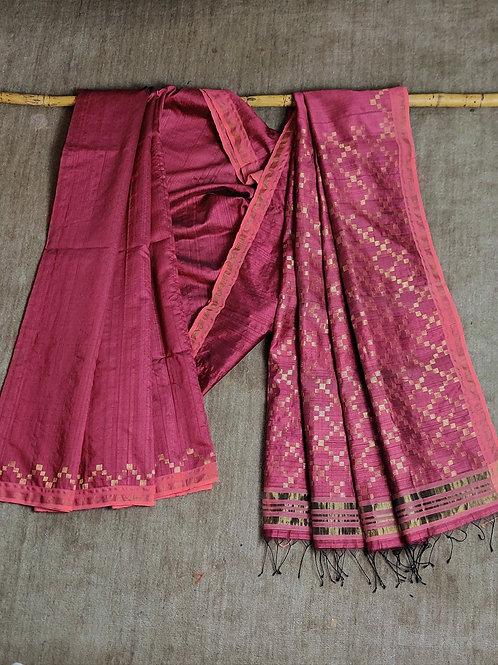 Mulberry silk by tussar silk base extra weft sari