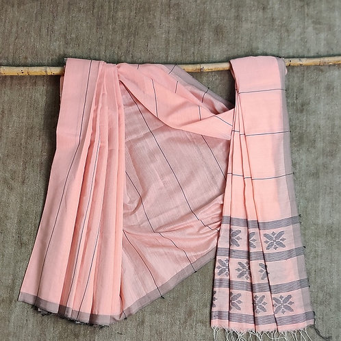 Mulberry silk by cotton base extra weft (52 buti) sari