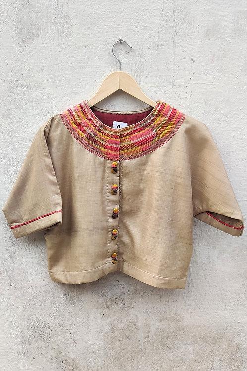Tussar silk Sujani crop top