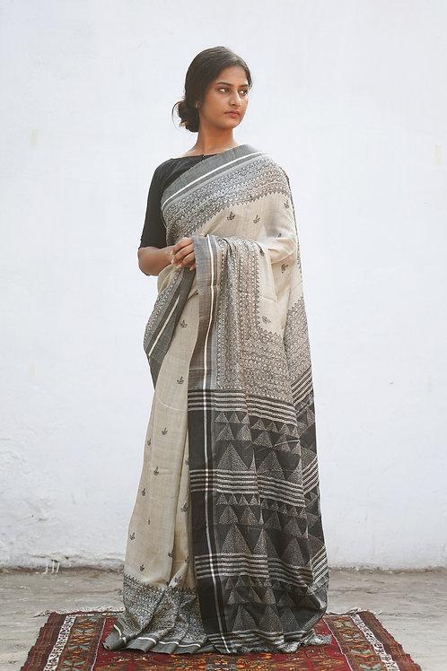 Tussar Silk Madhubani Handpainted Sari