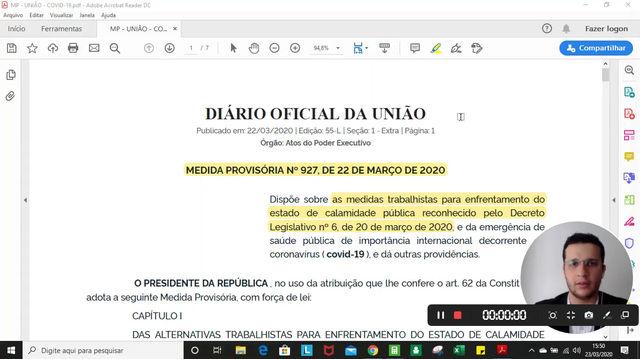 Demonstração da Medida Provisória 927 de 22/03/2020 que trata sobre as Medidas Trabalhistas