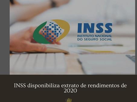 INSS disponibiliza extrato de rendimentos de 2020