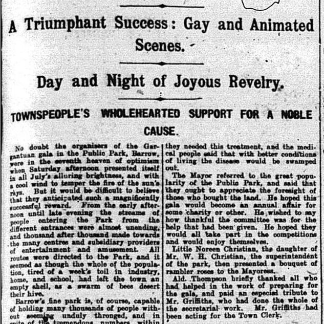 A report on the 1924 Gala in Barrow Park.