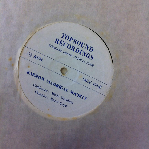 LP by the Barrow Madrigal Society. 1970's.
