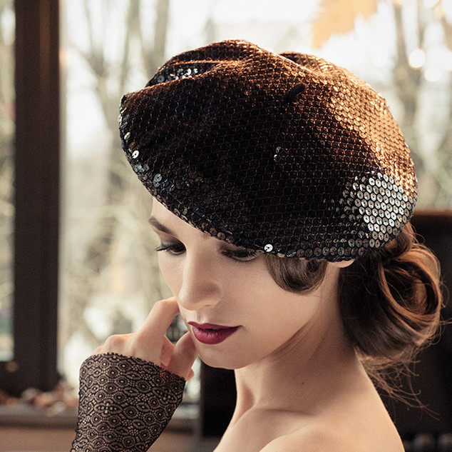 French Beret covered with colored sequins. Handcrafted in France