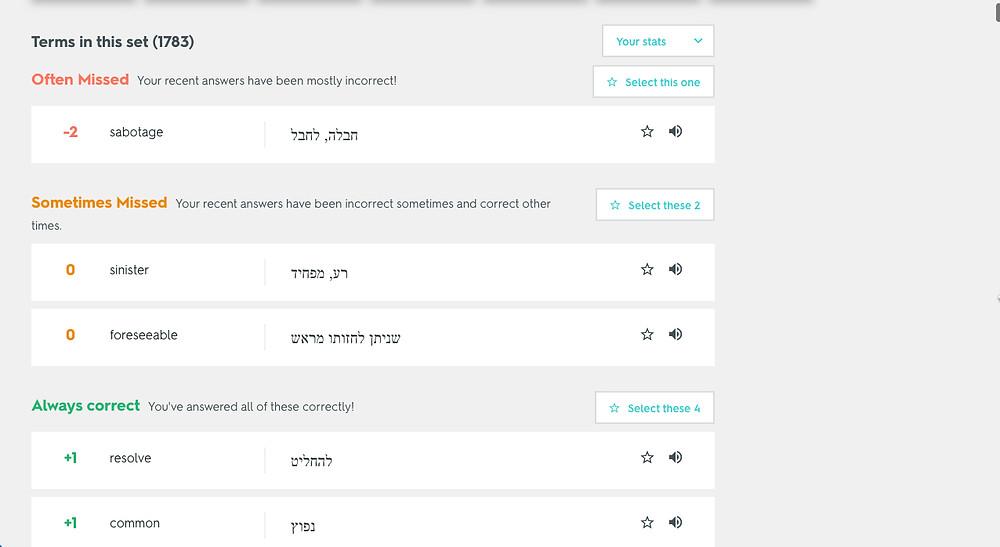 מילים בעברית לפסיכומטרי
