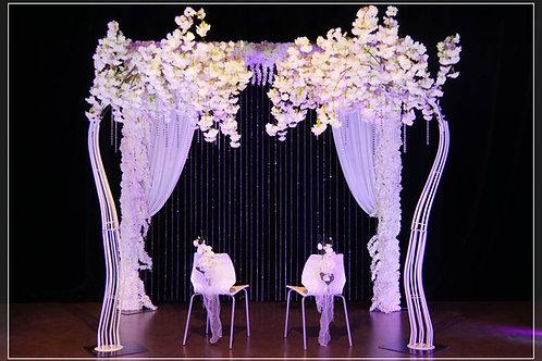Arche fleurie 3 côtés et Pampilles + 2 Cerisiers blancs