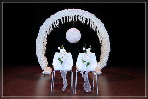 Arche fleurie ∅2,50m et Boule de fleurs