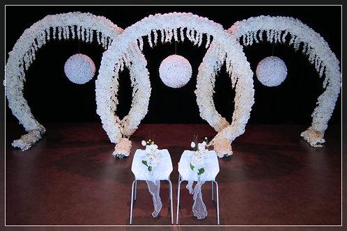 Ensemble Trois Arches fleuries Boules de fleurs