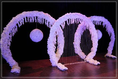 Ensemble Trois Arches fleuries et Rideau de Pampilles