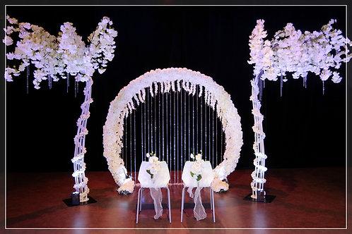 Arche fleurie ∅2,50m et Rideau de Pampilles et 2 Cerisiers Blancs