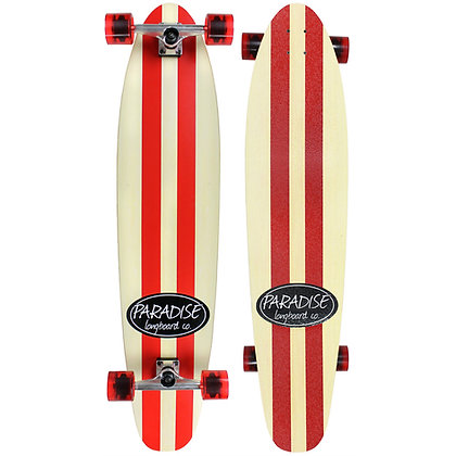 """Paradise Longboard 44"""" Kicktail Red Pinstripe  Complete"""