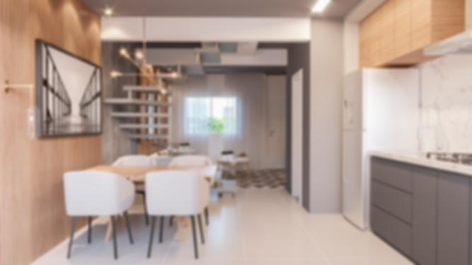 Domus Cachoeira II - Olhando da cozinha para a sala