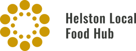 Helston Local Food Hub logo in gold and grey