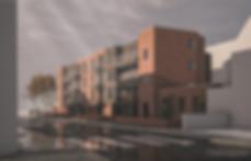 Architectural visualisation of brick clad apartment block