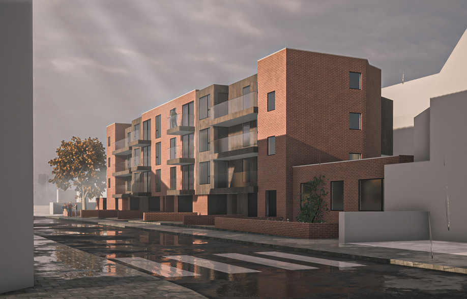 Architectural visualisation of brick clad apartment block