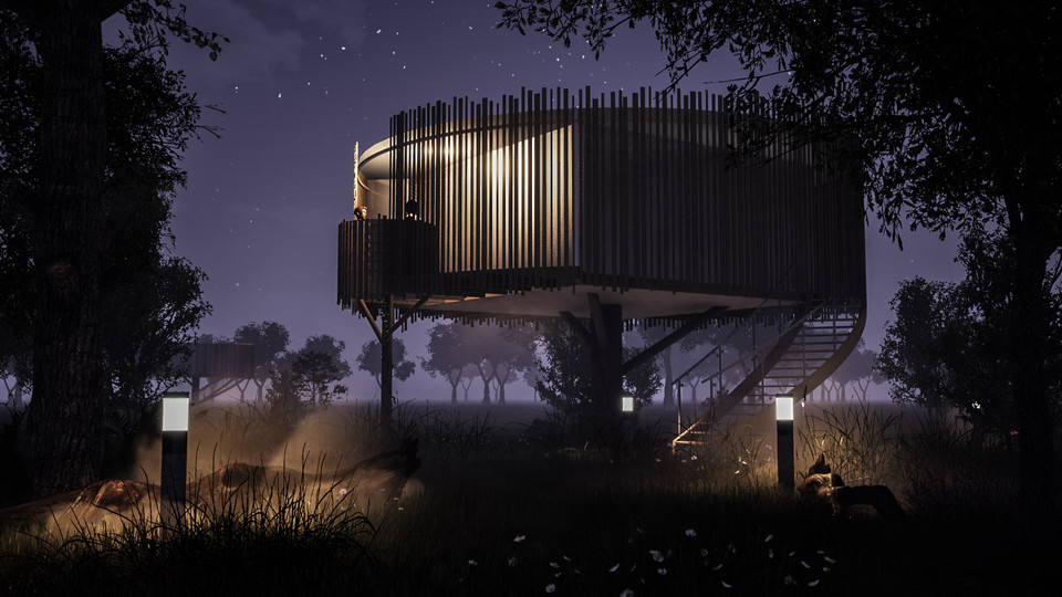 Treehouse in the night
