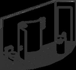 Axonometric of pod shower room