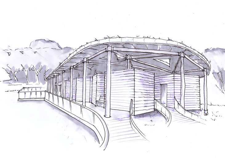Mark Waghorn Design, MWD architects + makers, sketch design for sustainable eco-campsite, locally sourced timber, low impact design, west Wales, Carmarthenshire