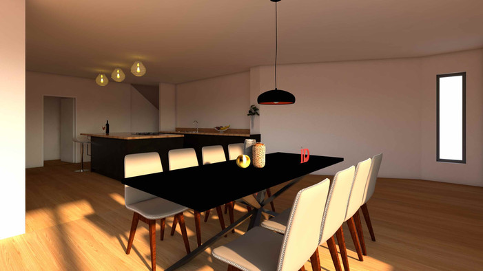 Dining room visualisation with shadows cast through window