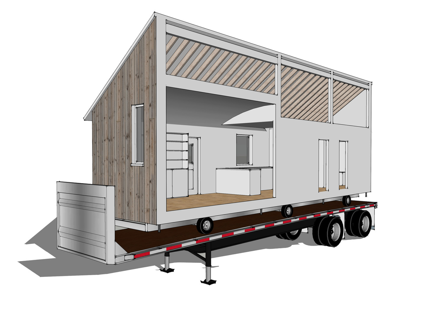 half of the park home on trailer