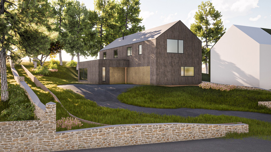 Visualisation of low impact timber clad house among trees